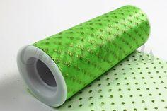 "Glitter Dot Tulle 6"" x 10 Yards - Apple Green"