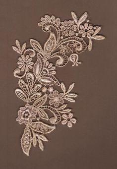 Hand Dyed Floral Venise Lace Applique Petite Floral Scroll Blush Latte B. $5.49, via Etsy.