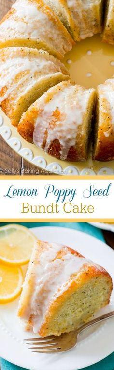 Lemon Poppy Seed Bundt Cake from Sally's Baking Addiction 13 Desserts, Brownie Desserts, Lemon Desserts, Lemon Recipes, Sweet Recipes, Baking Recipes, Delicious Desserts, Cake Recipes, Dessert Recipes