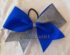 Electric Blue and Silver Glitter Tic Tock Cheer Bow on Etsy, $10.00