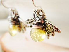 Honey Bee Earrings Lemon Quartz Wire by thelittlehappygoose, $28.00