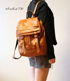 Expandable Leather Napsacks : Square Shape Leather Backpack