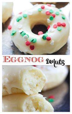 Eggnog Donuts have that delicious flavor that is so loved this time of year! These donuts couldn't be any easier to make.Eggnog Donuts have that delicious flavor that is so loved this time of year! These donuts couldn't be any easier to make. Brownie Desserts, New Year's Desserts, Christmas Desserts, Dessert Recipes, Oreo Dessert, Christmas Donuts, Halloween Donuts, Appetizer Dessert, Holiday Baking
