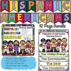 Make learning about Hispanic Americans fun and interesting with this 112 page bundle that celebrates Hispanic Heritage Month. Students will research and write biographies on famous Hispanic Americans and   learn interesting facts integrating grammar and history using the 36 parts of speech fact cards.