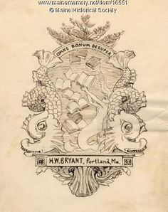 """H.W. Bryant bookplate sketch, 1893. This bookplate was created by Winslow Homer for Hubbard Winslow Bryant, the Maine Historical Society librarian from 1881-1906. Dolphins, a mermaid and books as well as the words, """"Omne Bonum Desuper"""" (Every good is from above) are part of the text. Purchase reproduction prints online. www.vintagemaineimages.com"""