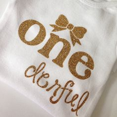 1st Birthday shirt, bodysuit, gold glitter ONE, first birthday, baby girl, toddler, glitter tee, glitter shirt, ONEderful, 1st bday