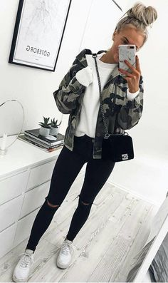 #winter #outfits white shirt, camouflage zip-up jacket and distressed black denim jeans outfit #womenjeans