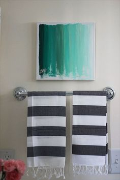 DIY painting...canvas, one color you turn into ombre by adding more an more white paint as you go.