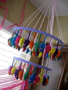 Toy Mouse Chandelier for Kitty Cat Party - http://justdaisydreaming.blogspot.com