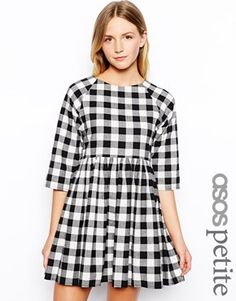 Image 1 of ASOS PETITE Exclusive Smock Dress In Check