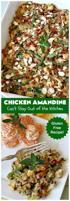 Chicken Amandine | Can't Stay Out of the Kitchen | fantastic dinner #casserole with #chicken, #rice #GreenBeans, #almonds & #bacon. A satisfying comfort food #recipe! #ChickenAmandine
