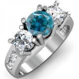 Share 2.00 Carat (ctw) 14K White Gold Round Blue & White Diamond Ladies 3 Stone Engagement Bridal Ring 2 CT - Dazzling Rock #https://www.pinterest.com/dazzlingrock/