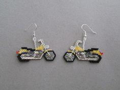 Yellow Motorcycle Earrings in delica seed by DsBeadedCrochetedEtc