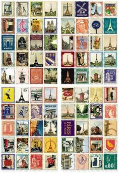 Each stamp features images of Paris 80 stamps total 4 sheets Sheet: x Stamp: 22 x 19 mm Kids Stickers, Printable Stickers, Cute Stickers, Scrapbook Vintage, Vintage Stamps, Travel Scrapbook, Journal Stickers, Scrapbook Stickers, Travel Sticker