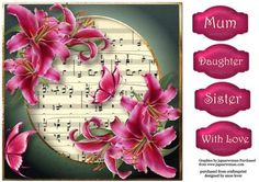 Hot Pink Lilies Butterflies 8x8 on Craftsuprint designed by Anne Lever - This lovely large square quick topper is approx 8x8. It features gorgeous hot pink lilies and butterflies with a sheet music background. It has four greetings. - Now available for download!