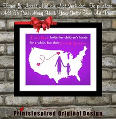 Gift For Mom Birthday Distance Map Hearts Quotes Home Decor Wall Art Print a Mother Holds Daughter Son Mother's Day Christmas Gift Present on Etsy, $23.99
