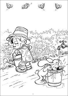 kleurplaat Bollie en Billie - Bollie en Billie tuinieren