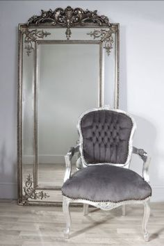 Large Silver Wall Mirror paris ivory extra-large shabby chic full length leaner floor