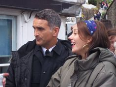 John Marquez and Jessica Ransom during filming of Doc Martin Series 7, 2015.
