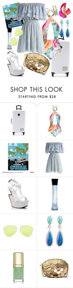 """Pack & Go > Cuba"" by ellie-ghb ❤ liked on Polyvore featuring Herschel Supply Co., Mara Hoffman, Chicwish, Giuseppe Zanotti, Armani Beauty, Victoria Beckham, Anabela Chan, Dolce&Gabbana, MICHAEL Michael Kors and Packandgo"