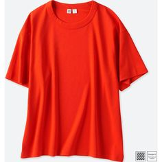 UNIQLO Women's U Oversize Crewneck Short-sleeve T-Shirt (590 RUB) ❤ liked on Polyvore featuring tops, t-shirts, red, red crew neck t shirt, red tee, red t shirt, uniqlo t shirt and short sleeve t shirt