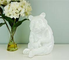 Large Ceramic White Bear Italian Pottery, White Polar Bear Figurine Statue, Monochromatic White Decor, Minimalist Decor, Shelf Decoration by CurioBoxx on Etsy