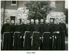 Monks standing on the side of the monastery circa 1942