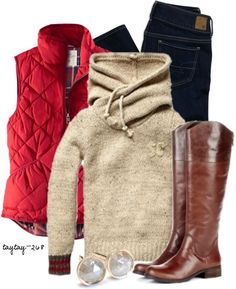 legging outfits winter - Minus the red vest lol Leggings Outfit Winter, Cozy Winter Outfits, Legging Outfits, Fall Outfits, Puffy Vest Outfit, Casual Outfits, Leggings Style, Athleisure Outfits, Vest Outfits
