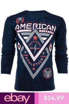 4c80499b AMERICAN FIGHTER Mens LONG SLEEVE T-Shirt ALASKA PATTERN Elephant Print  NAVY $54