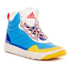 adidas Irana Faux Fur Lined Hi-Top Sneaker ($45) ❤ liked on Polyvore featuring shoes, sneakers, hi tops, lace up high top sneakers, colorful sneakers, lace up shoes and adidas