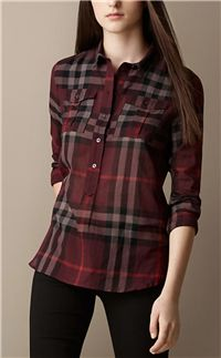 Burberry - Check Cotton Smock Shirt: This contemporary fitting shirt has a half placket (only buttons half-way down), making it easy to tuck in – no little open spaces by the waist of your pants or skirt. Plus Size Dressy Tops, Casual Tops, Look Fashion, Fashion Outfits, Womens Fashion, Indian Fashion, Cool Outfits, Casual Outfits, Online Dress Shopping