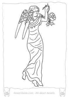 Angel Template Angel Coloring Page Winter Robin ( Weihnachtsengel Ausmalbild )  from our Christmas Angels Coloring Page Collection at www.angel-guide.com ( no $  )