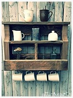 This barn wood coffee station/shelf is made from rustic wood and is 18 Wood, Wood Pallet Projects, Woodworking, Wood Pallets, Rustic Furniture, Barn Wood, Wood Diy, Woodworking Projects, Wood Furniture