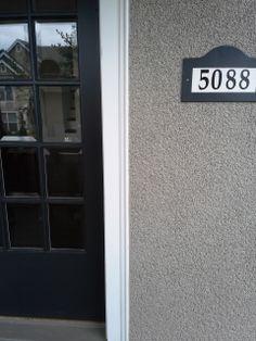 Exterior color consultation in SW Portland: Door = Rodda Paint Sayward Pine; House body = Devine Lino