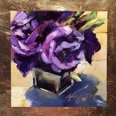 """Oh, those purples! Is an original 6""""x6"""" daily oil painting by Lancaster, Pa artist Kim Smith #originalart #floralpainting"""