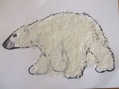 has a great post about winter animals including this rice textured polar bear project. Bear Crafts, Animal Crafts, Snow Crafts, Winter Art, Winter Theme, Snow Theme, Winter Ideas, Artic Animals, Hibernating Animals