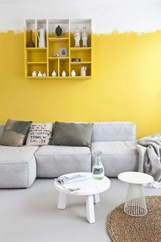 Trendy home decored living room yellow accent walls ideas Yellow Accent Walls, Yellow Walls Living Room, Yellow Wall Decor, Yellow Rooms, Bedroom Yellow, Half Painted Walls, Creative Wall Painting, Yellow Interior, Grey Flooring