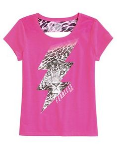 Lightning bolt cheetah Back Detail Tee #Justice #wildstyle