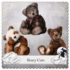 Beary Cute - $4.00 : Digital Scrapbooking Studio Digital Scrapbooking, Teddy Bear, Studio, Toys, Cute, Animals, Activity Toys, Animales, Animaux