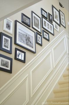 Super Home Stairs Ideas Stairways Wainscoting Ideas Stairway Gallery Wall, Stair Gallery, Stairway Photos, Staircase Pictures, Staircase Ideas, Images Murales, Wall Design, House Design, Design Art