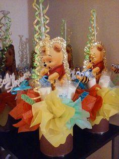 D coration de table th me winnie l 39 ourson 10 1an - Decoration winnie l ourson pour bapteme ...