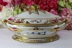 Old Paris Porcelain Tureen, Hand Painting, Flowers,Gilt,Gorgeous