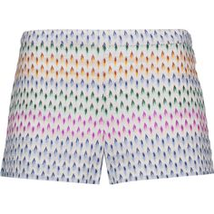 Missoni - Crochet-knit Shorts (£190) ❤ liked on Polyvore featuring shorts, multi, macrame shorts, missoni, multi colored shorts, knit shorts and zipper shorts