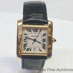 18k Gold Cartier Mens Unisex Tank Francaise Heavy Automatic Date Watch #Cartier #DressFormal