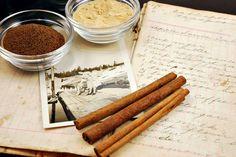 Vintage Cookbook With Cinnamon Sticks