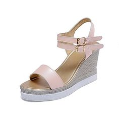 WeiPoot Womens Soft Material Buckle Open Toe High Heels Solid Platforms  Wedges Pink 38 ** Read more reviews of the product by visiting the link on the image.