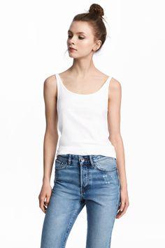 Trikootoppi - Valkoinen - Ladies   H&M FI