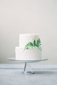A two-tiered white wedding cake with simple fern decorations | Brides.com