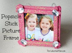 Popsicle Stick Picture Frame Kids Craft. Also possible for Mother's Day