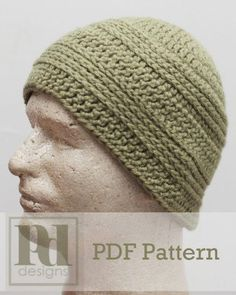 Men's+Knit+Look+Beanie+Hat+Crochet+PDF+Pattern+by+PDDesignsCrochet,+$6.00